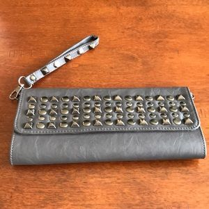 Mystique Grey Studded Clutch